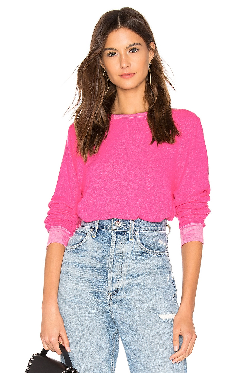 WILDFOX COUTURE Vin Varsity Baggy B Sweater in Pink