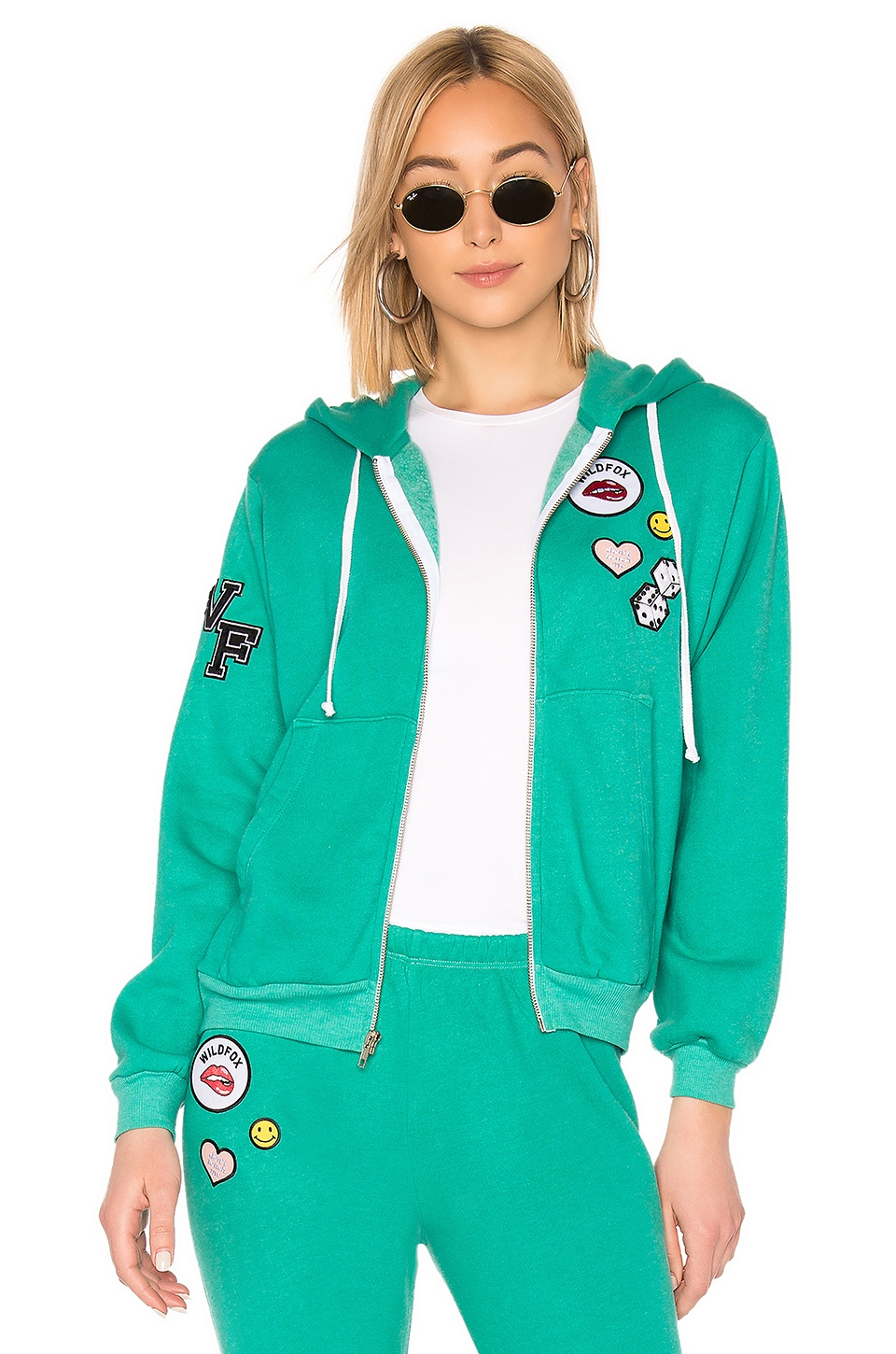 Wildfox Couture Regan Zip Hoodie in Emerald Green