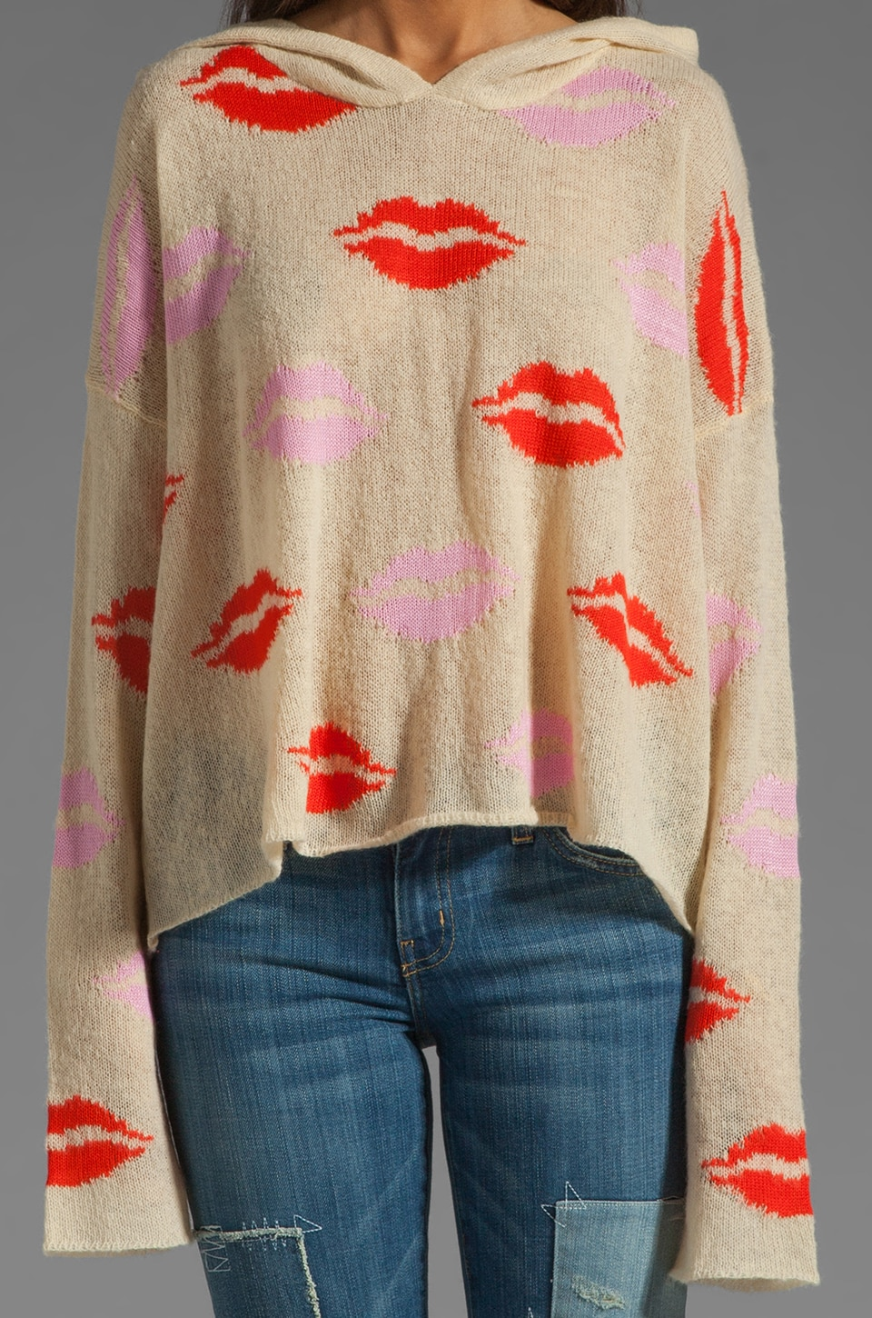 Wildfox Couture White Label Make Out Party Hooded Billy Sweater in Naked