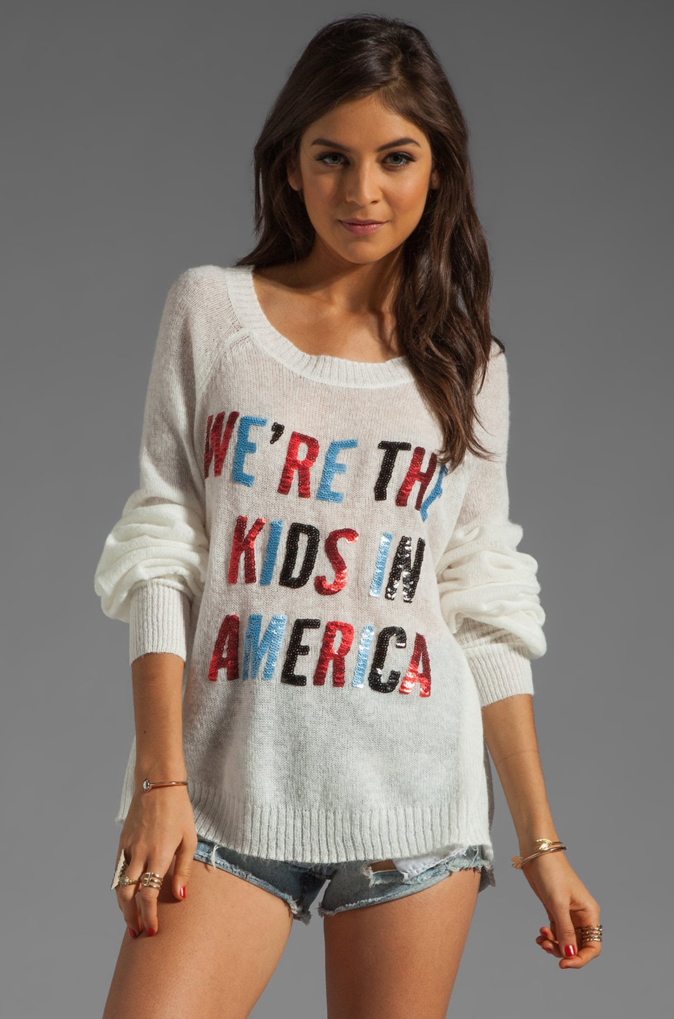Wildfox Couture American Kids Sweater in White