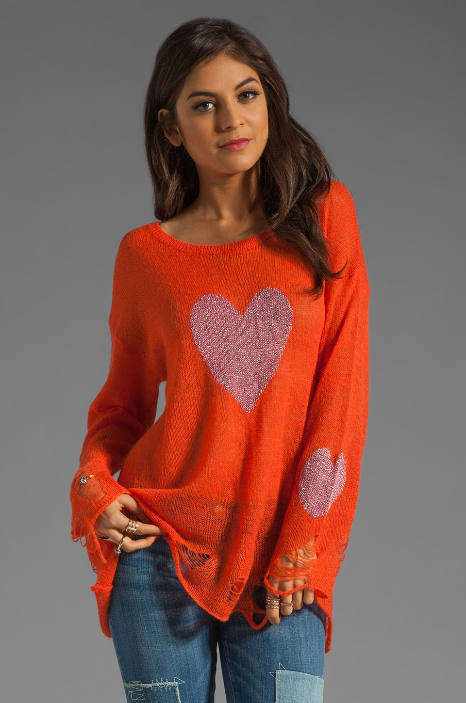 Wildfox Couture White Label Happy Heart Lennon Sweater in Valley Rogue