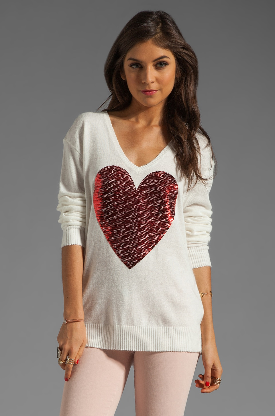 Wildfox Couture White Label Sequin Heart Sweater in Cream