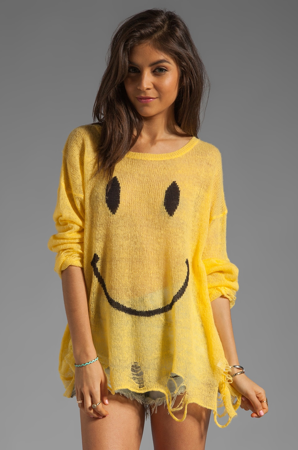 Wildfox Couture White Label 90's Smile Lennon Sweater in Happy Face