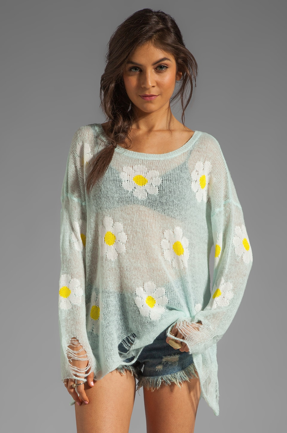 Wildfox Couture White Label Daisy Fest Lennon Sweater in Mall Fountain