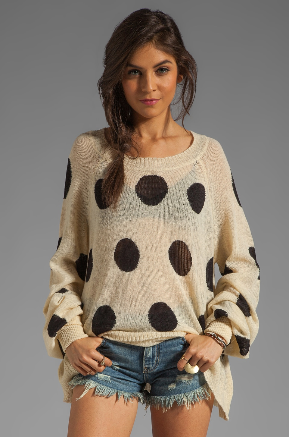 Wildfox Couture White Label Polka Dot It Pfeiffer Sweater in Naked