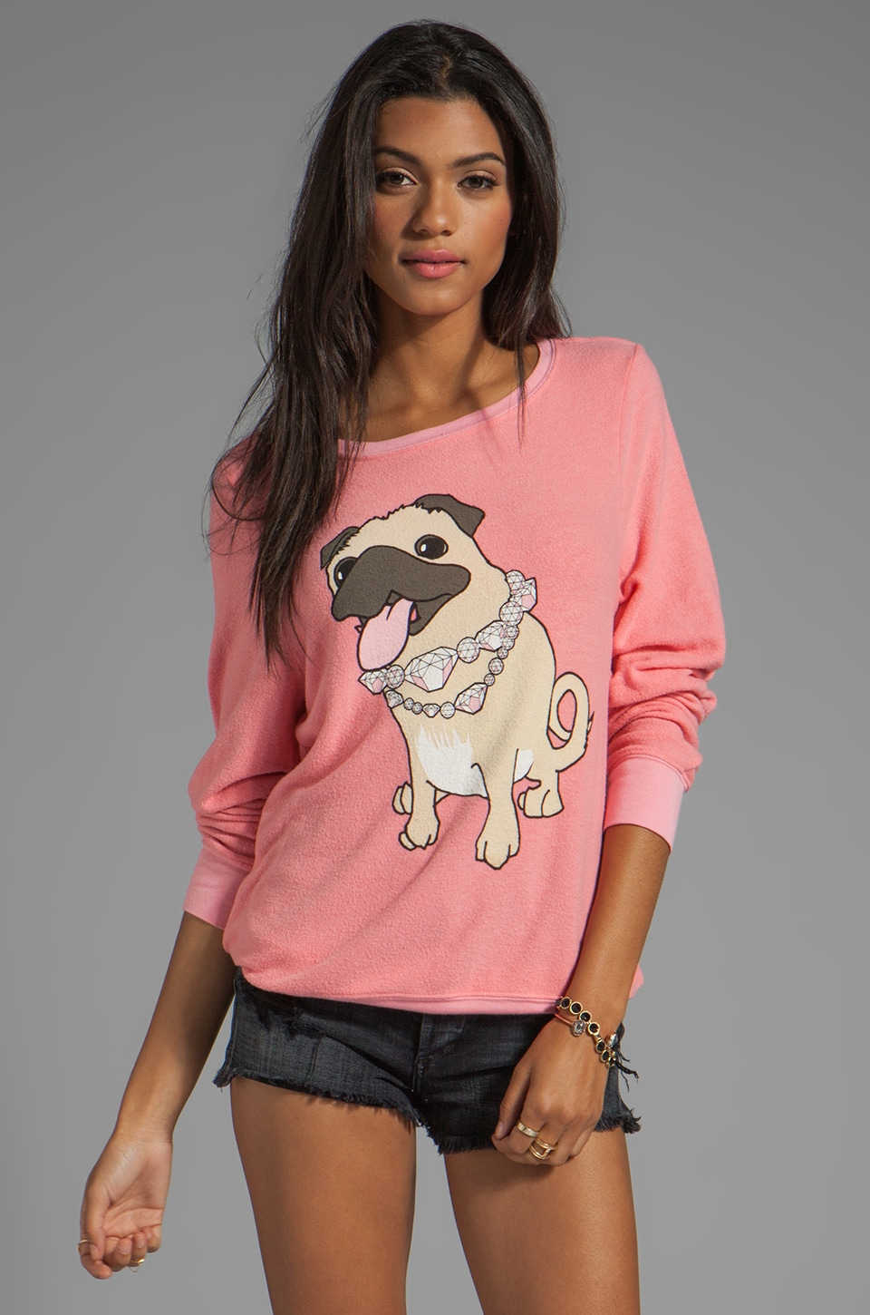 Wildfox Couture EXCLUSIVE BBJ Vintage Varsity Pullover in Petal