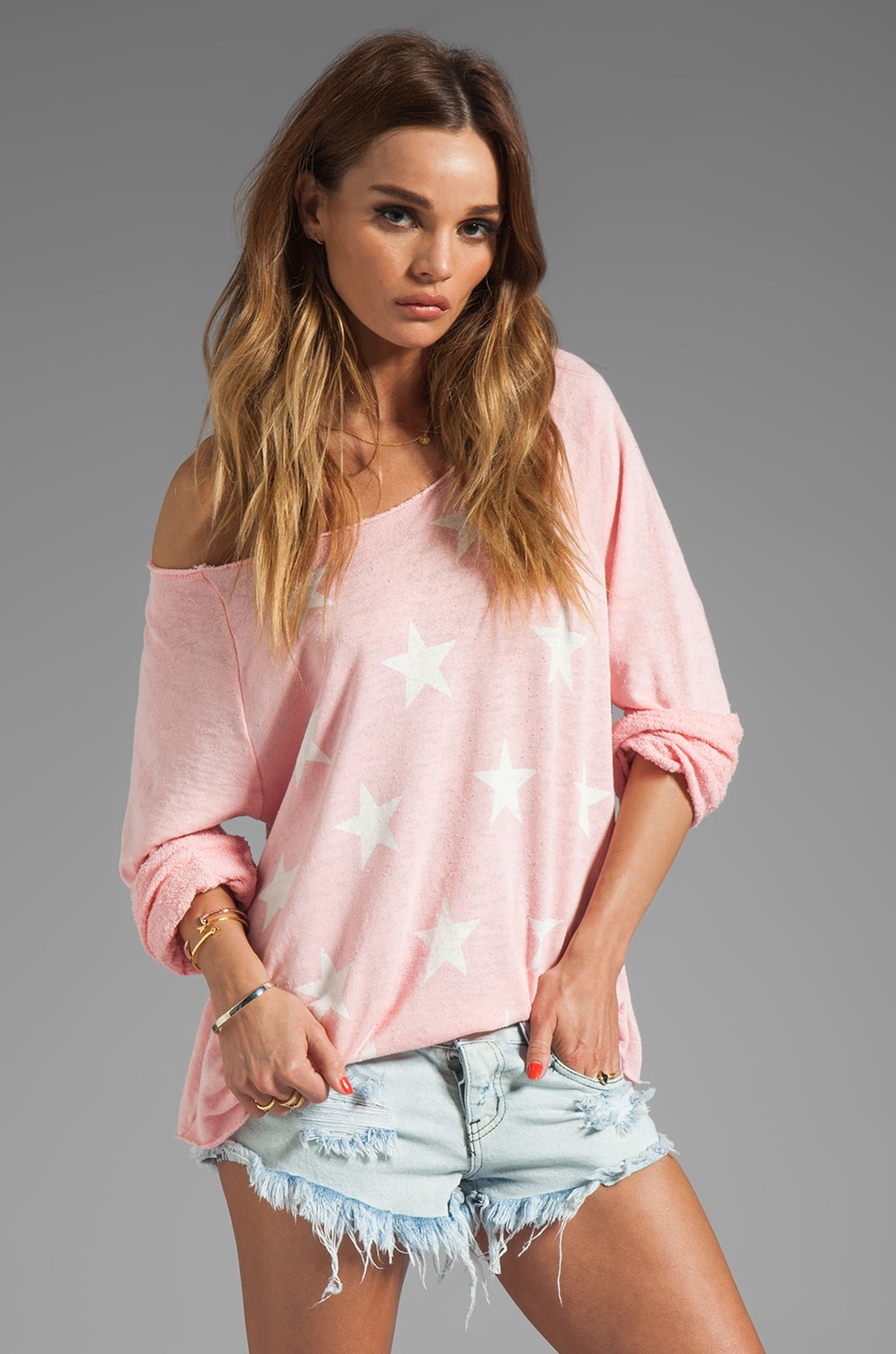 Wildfox Couture Jazzercise Stars Off the Shoulder Sweatshirt in Teen Dream