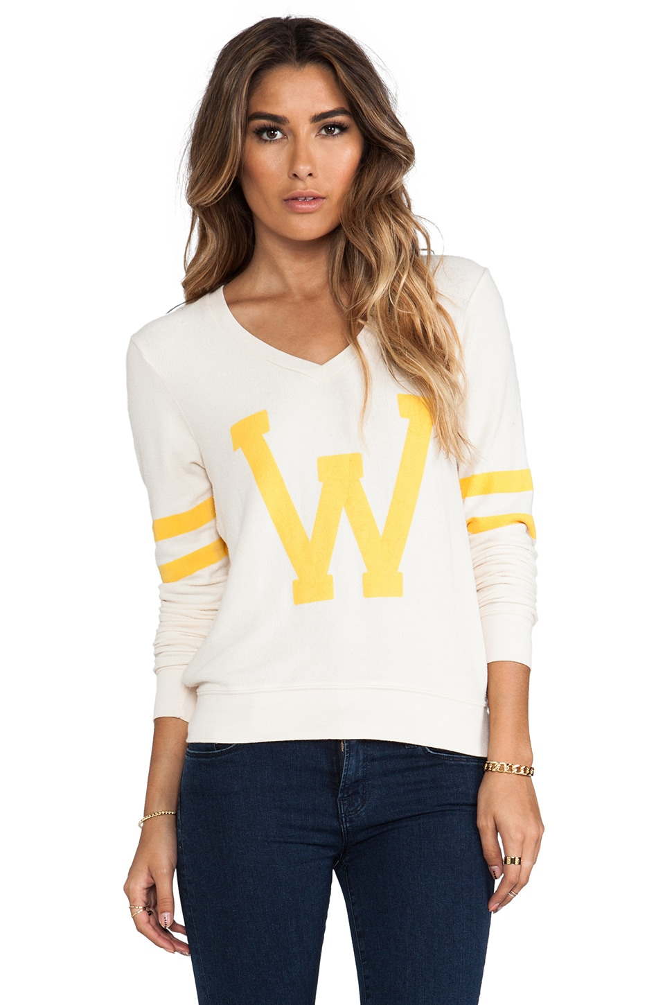 Wildfox Couture Letterman Pullover in Champagne