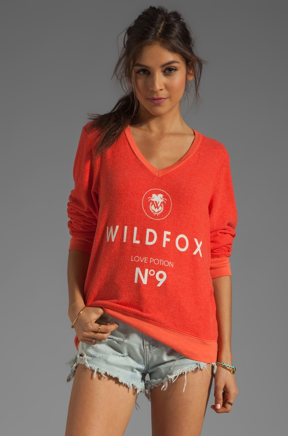 Wildfox Couture Wildfox #9 V Neck Baggy Beach Jumper in Valley Heat