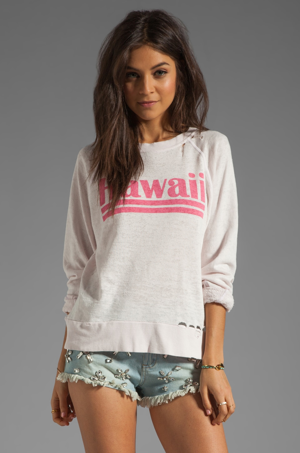 Wildfox Couture Hawaiian Dream Destroyed Sweater in Strawberry Ice