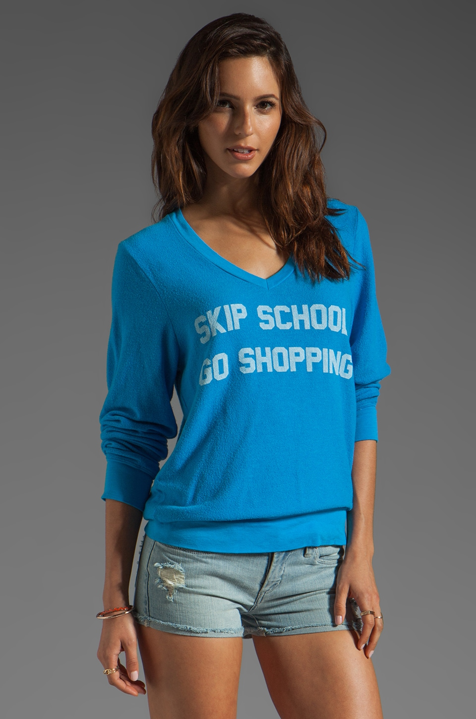 Wildfox Couture Skip School V Neck Baggy Beach Jumper in Mall