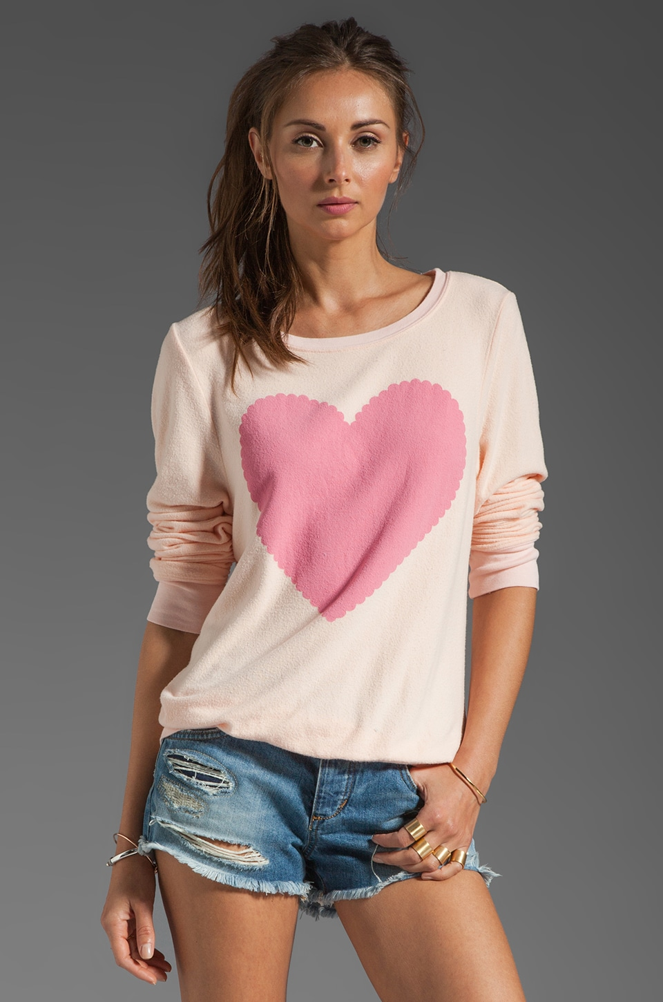 Wildfox Couture Love Note Baggy Beach Jumper in Dionne