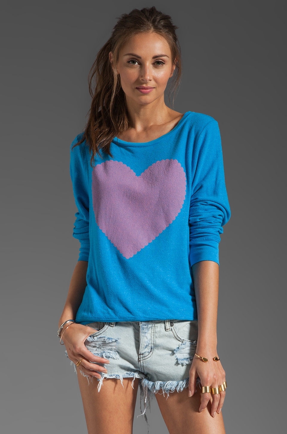 Wildfox Couture Love Note Baggy Beach Jumper in Mall