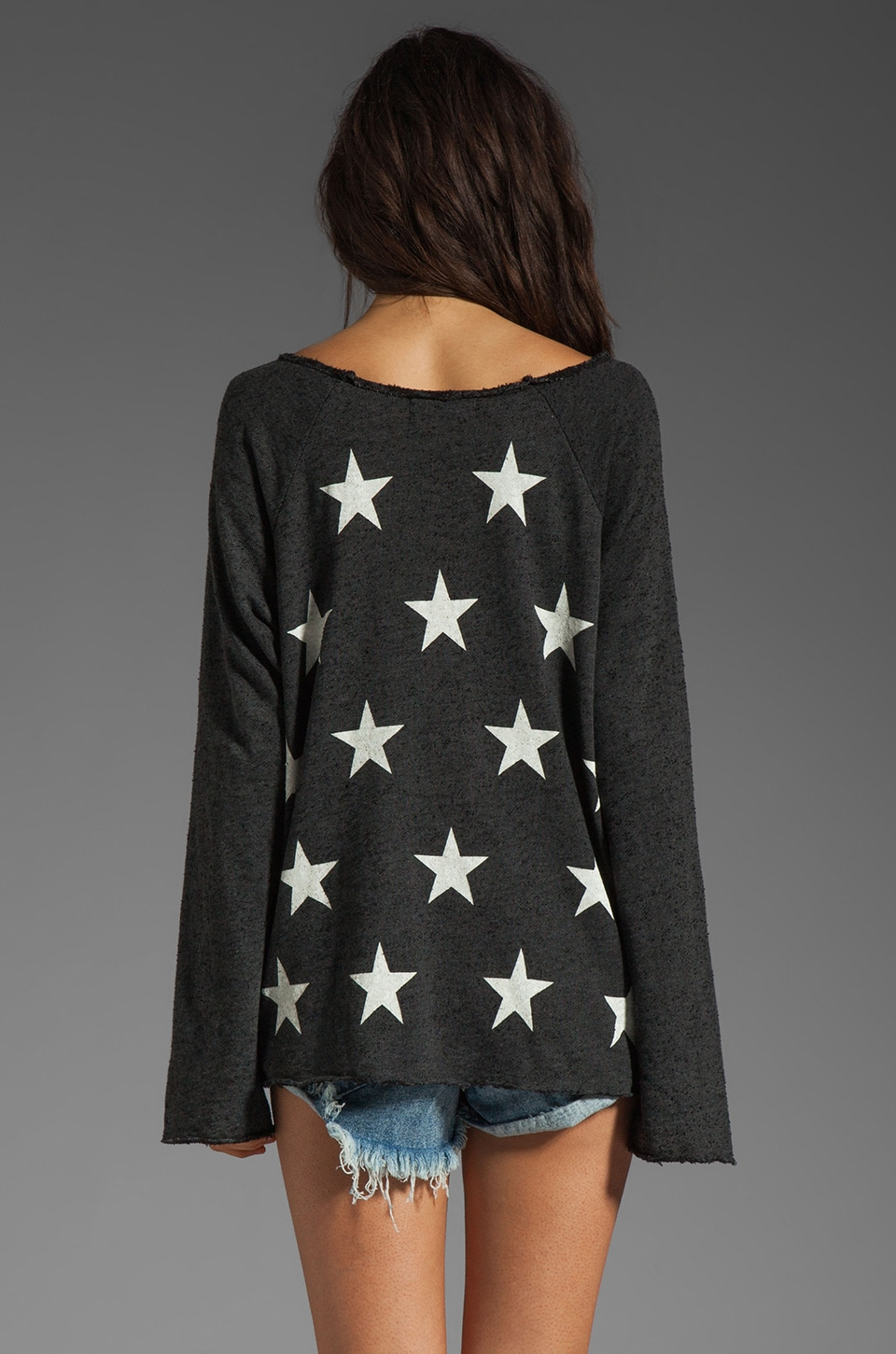 Wildfox Couture Jazzercise Stars Off the Shoulder Sweatshirt in Clean Black