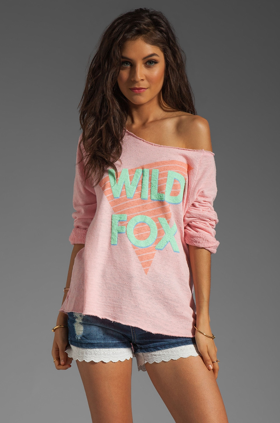 Wildfox Couture Fonda Fox Off the Shoulder Sweatshirt in Teen Dream