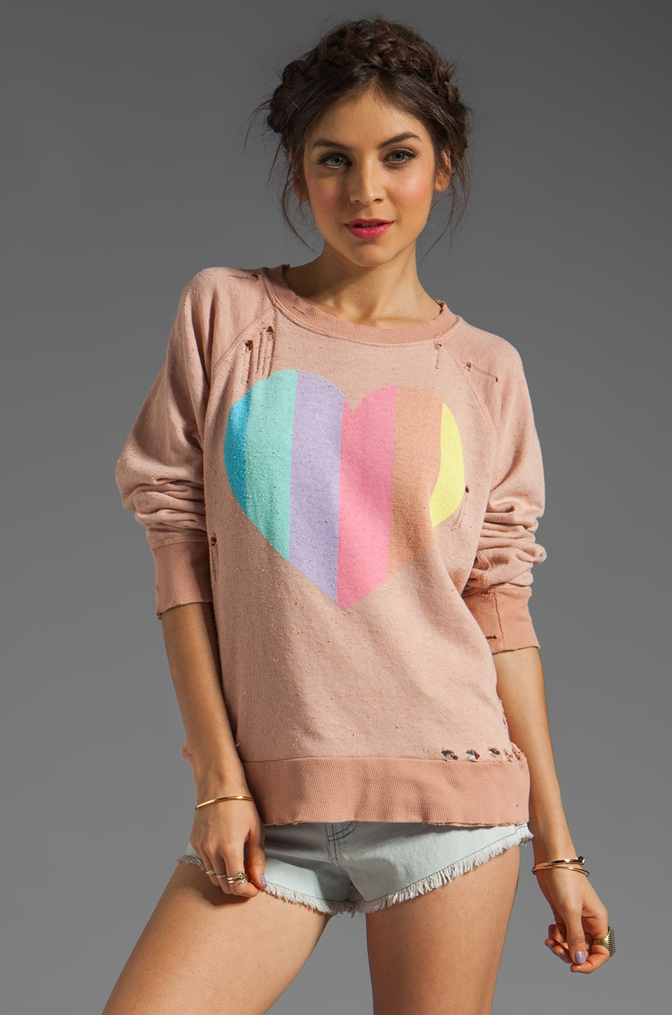 Wildfox Couture Prism Heart Destroyed Sweatshirt in Tan Line
