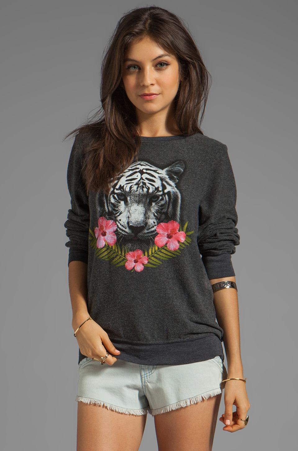 Wildfox Couture Tropical Tiger Baggy Beach Jumper in Clean Black