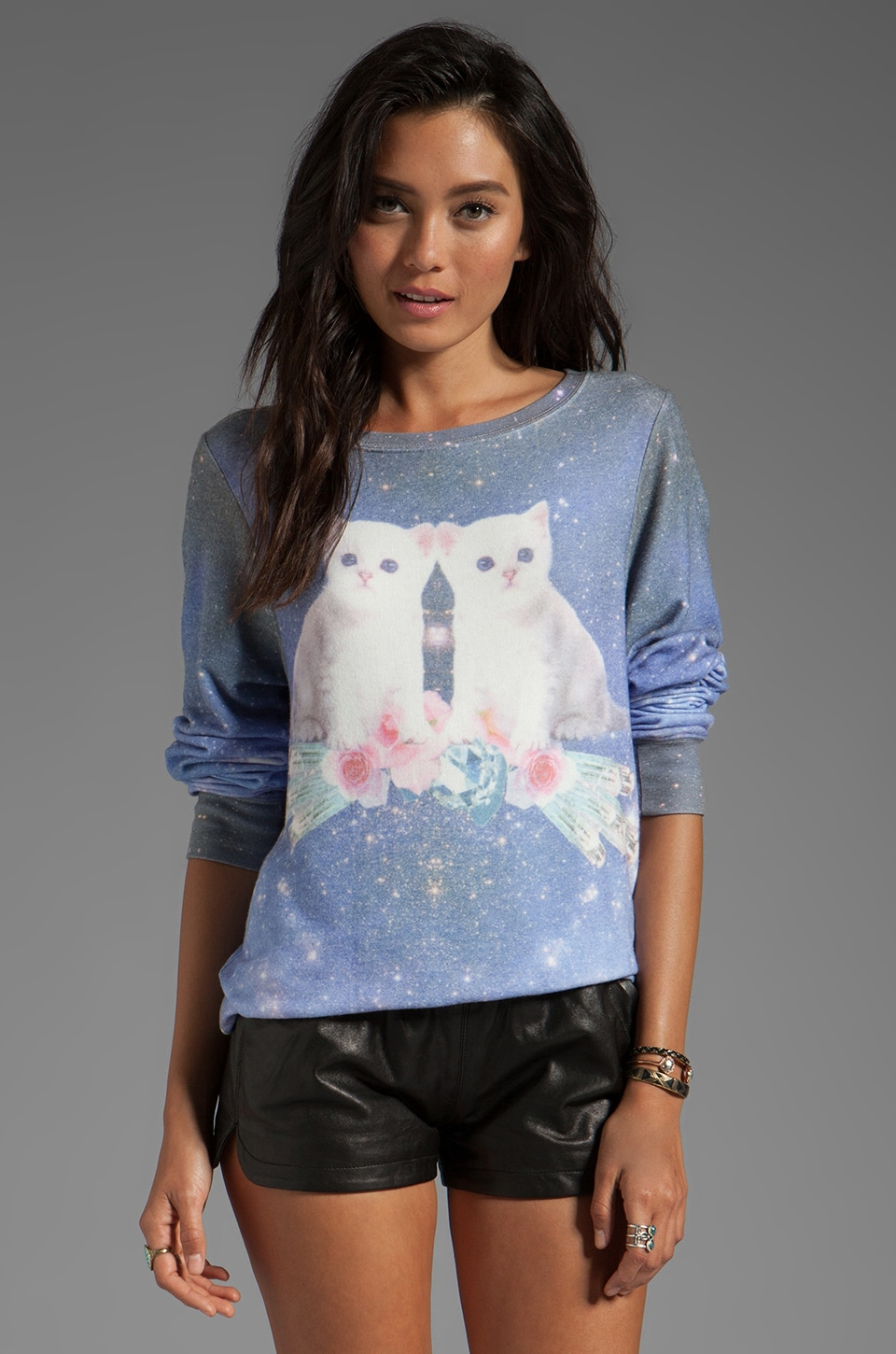 Wildfox Couture Fortunes Fool Space Kitten Baggy Beach Jumper in Multi