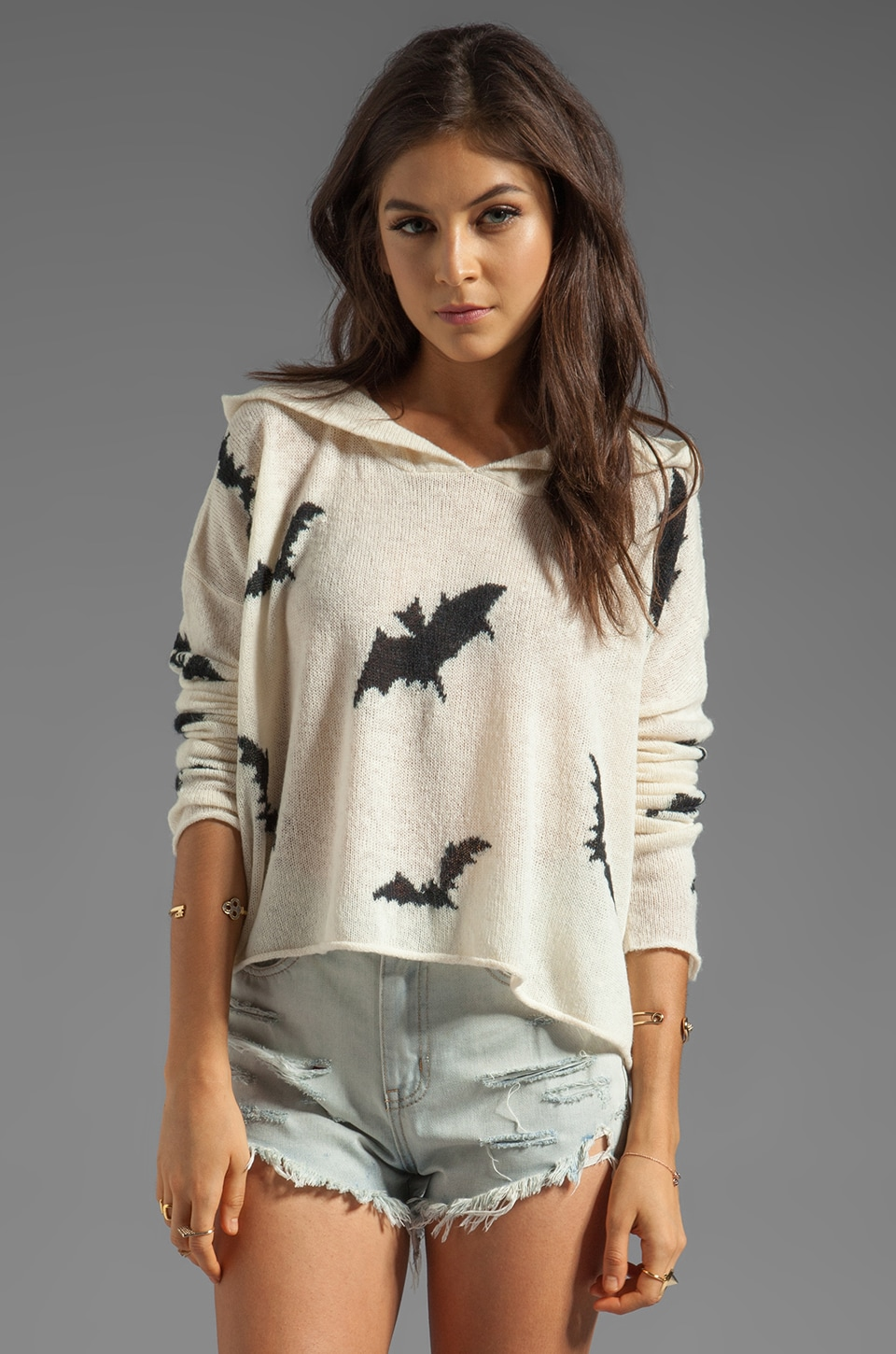 Wildfox Couture White Label Bats Hooded Billy Sweater in Champagne