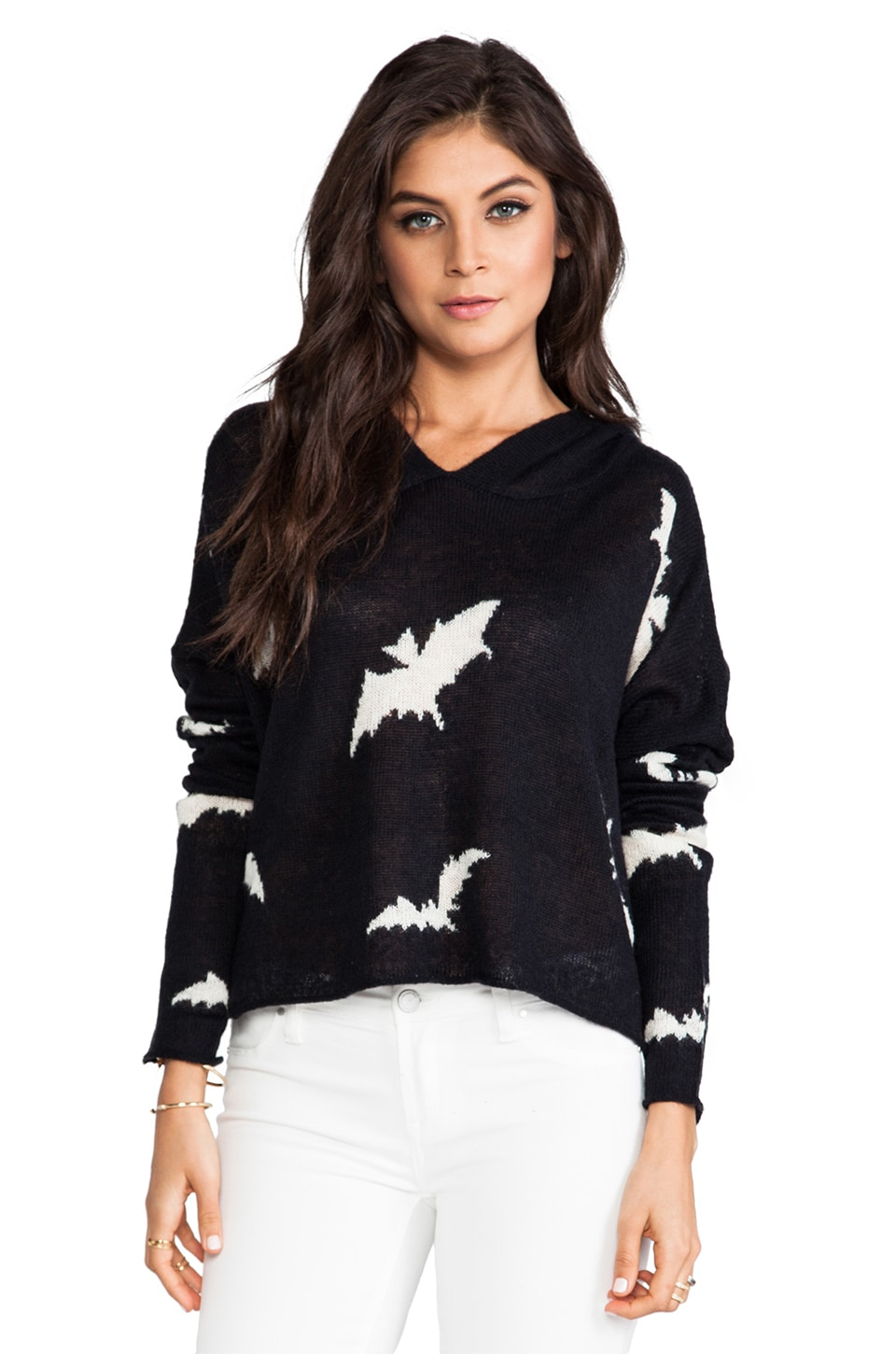 Wildfox Couture White Label Bats Hooded Billy Sweater in Clean Black