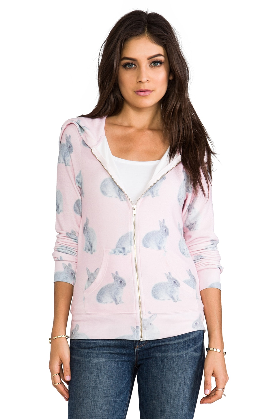 Wildfox Couture Snow Bun's Daydream Hoodie in Pink Multi