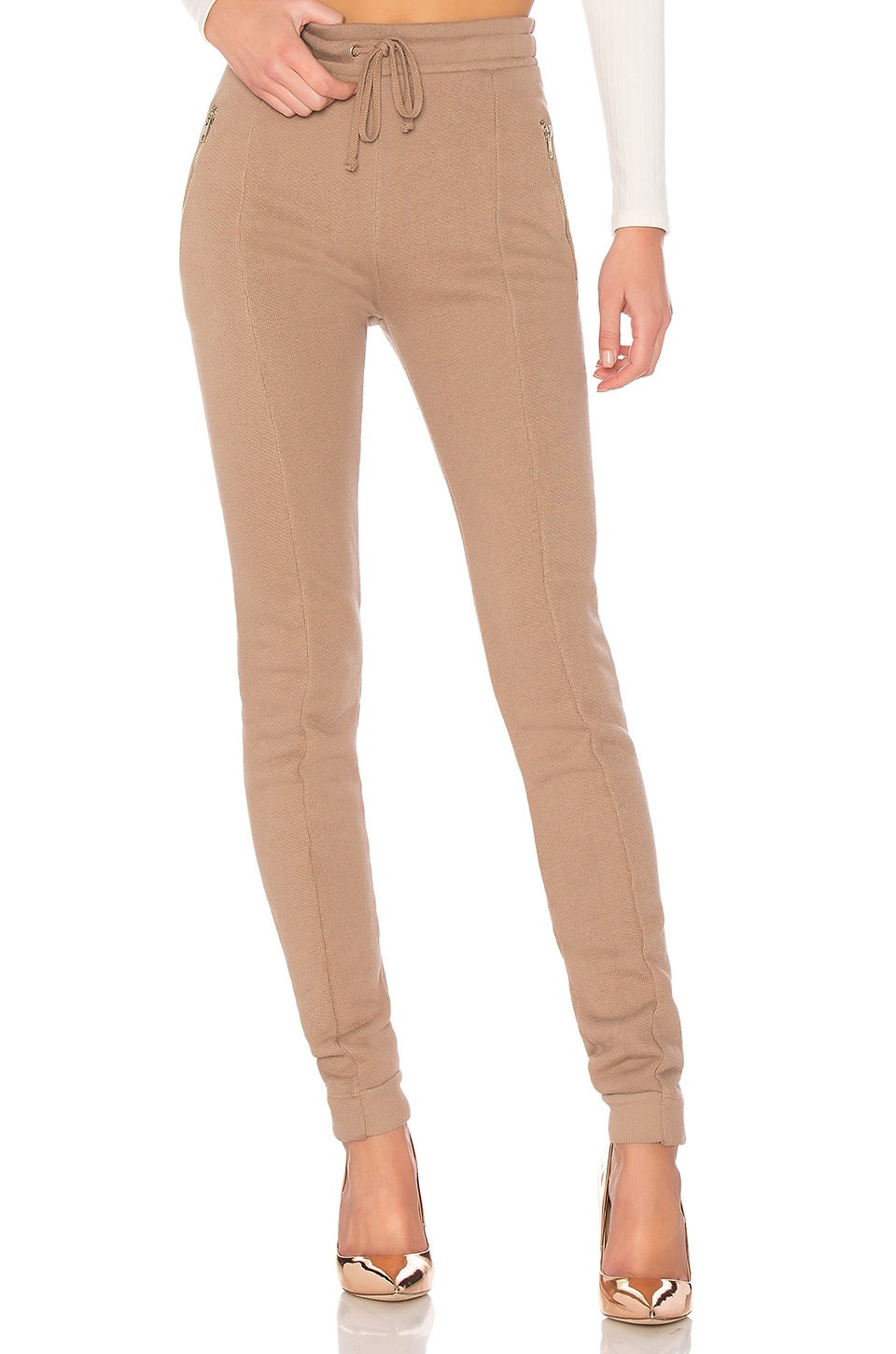 Wildfox Couture Solid Zipper Sweatpant in Umber Grey