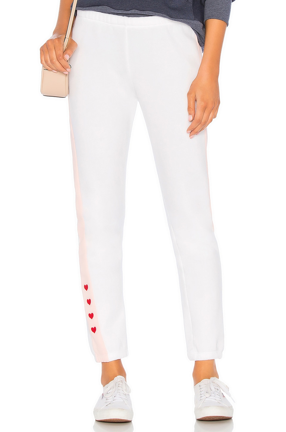 Wildfox Couture Love Track Sweatpant in Clean White & Romantic
