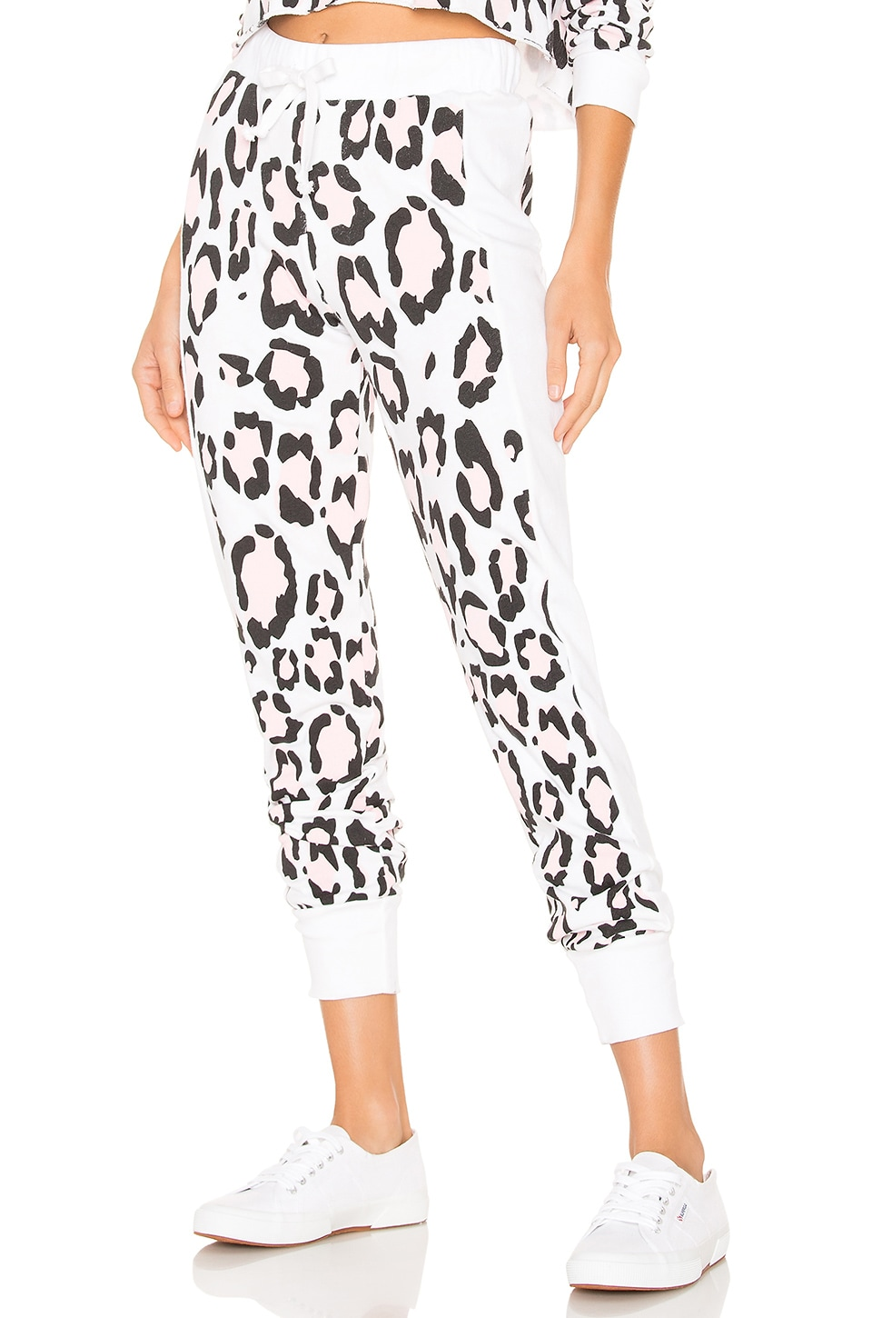 Wildfox Couture Blush Leopard Sport Jack Jogger in Clean White