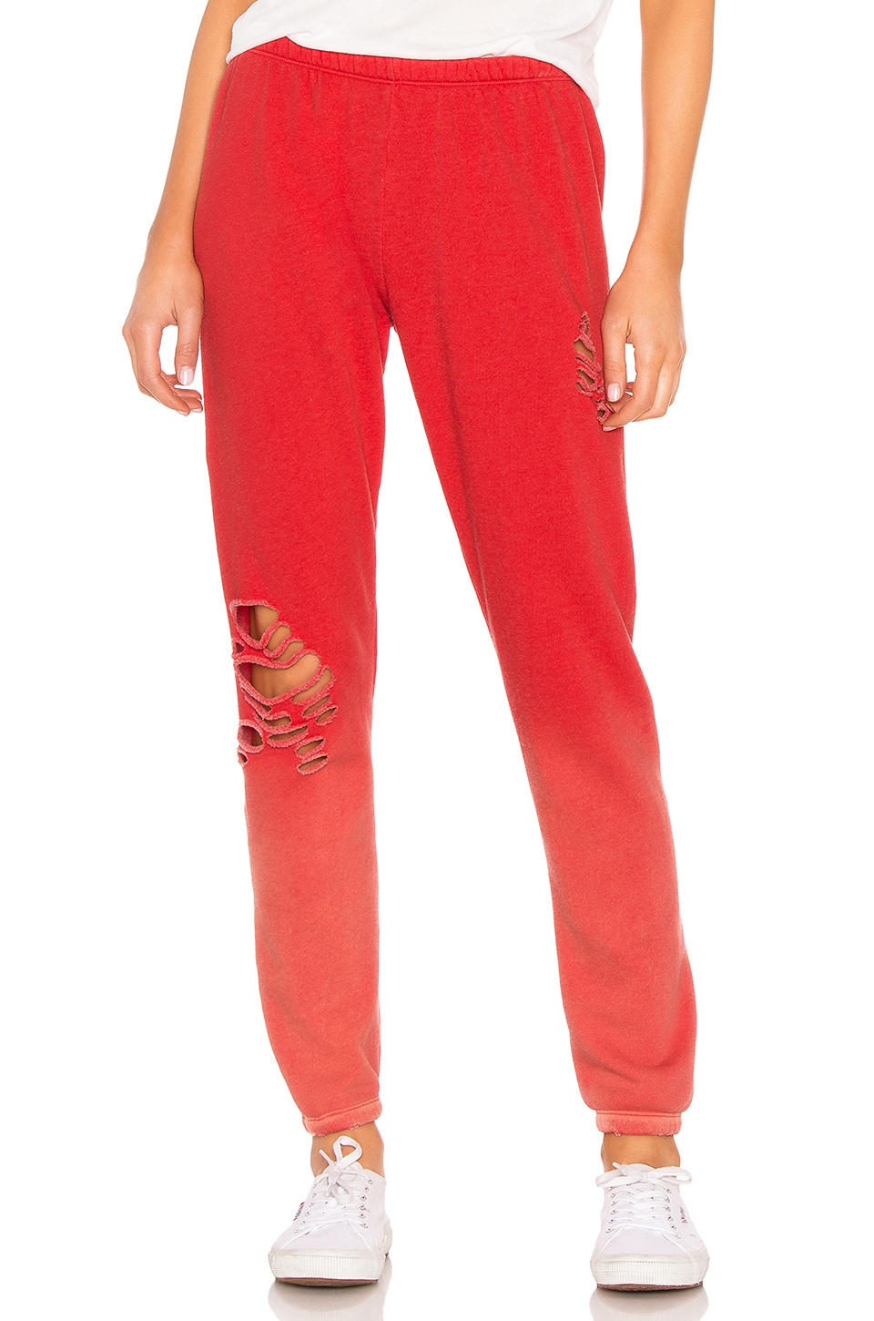 Wildfox Couture Trashed Knox Pant in Pigment & Poppy Red