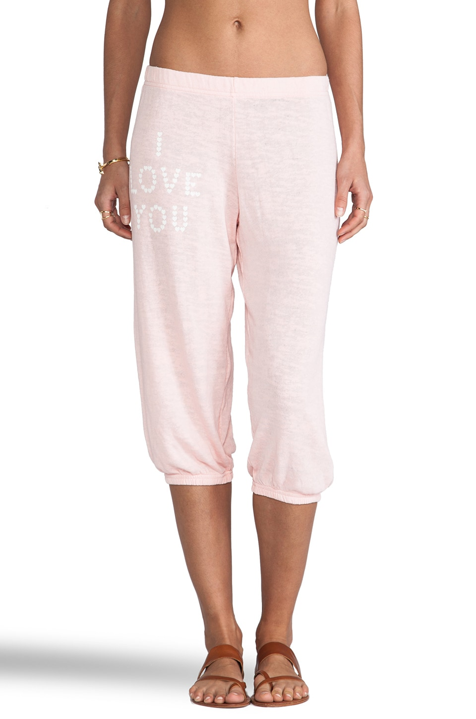 Wildfox Couture Little Heart Spell Cropped Sweats in Peaches