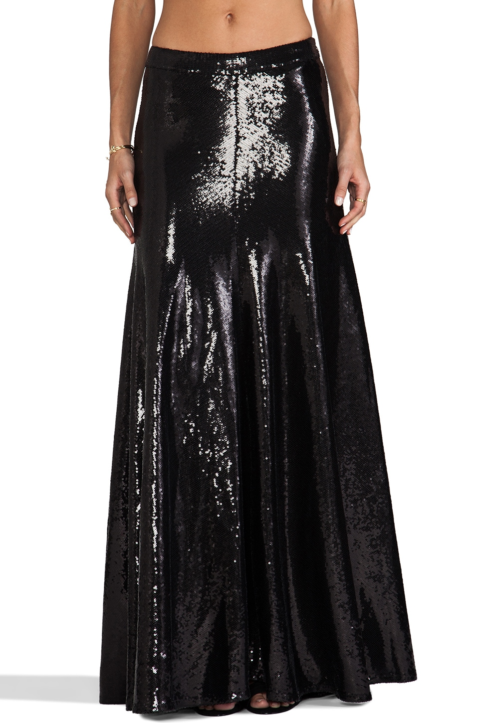 Wildfox Couture Cecilia Sequin Maxi Skirt in Black