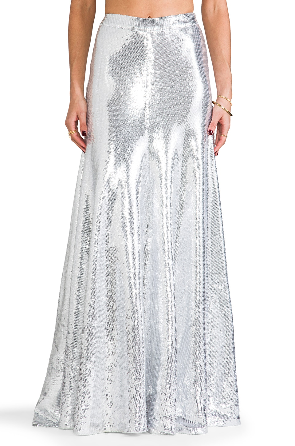 Wildfox Couture Cecilia Sequin Maxi Skirt in Silver | REVOLVE