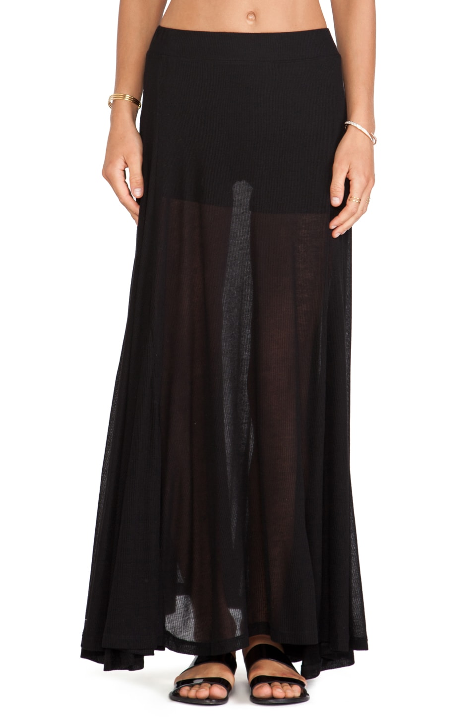 Wildfox Couture Scripted Maxi Skirt in Clean Black