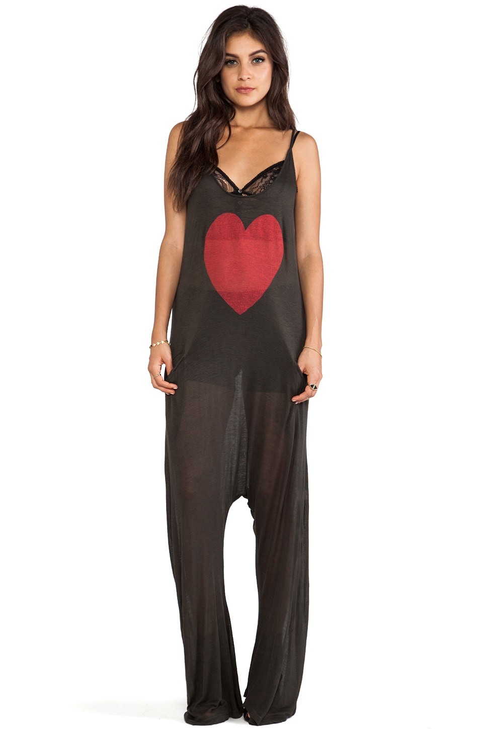 Wildfox Couture Heartland Easy Island Onesie in Dirty Black