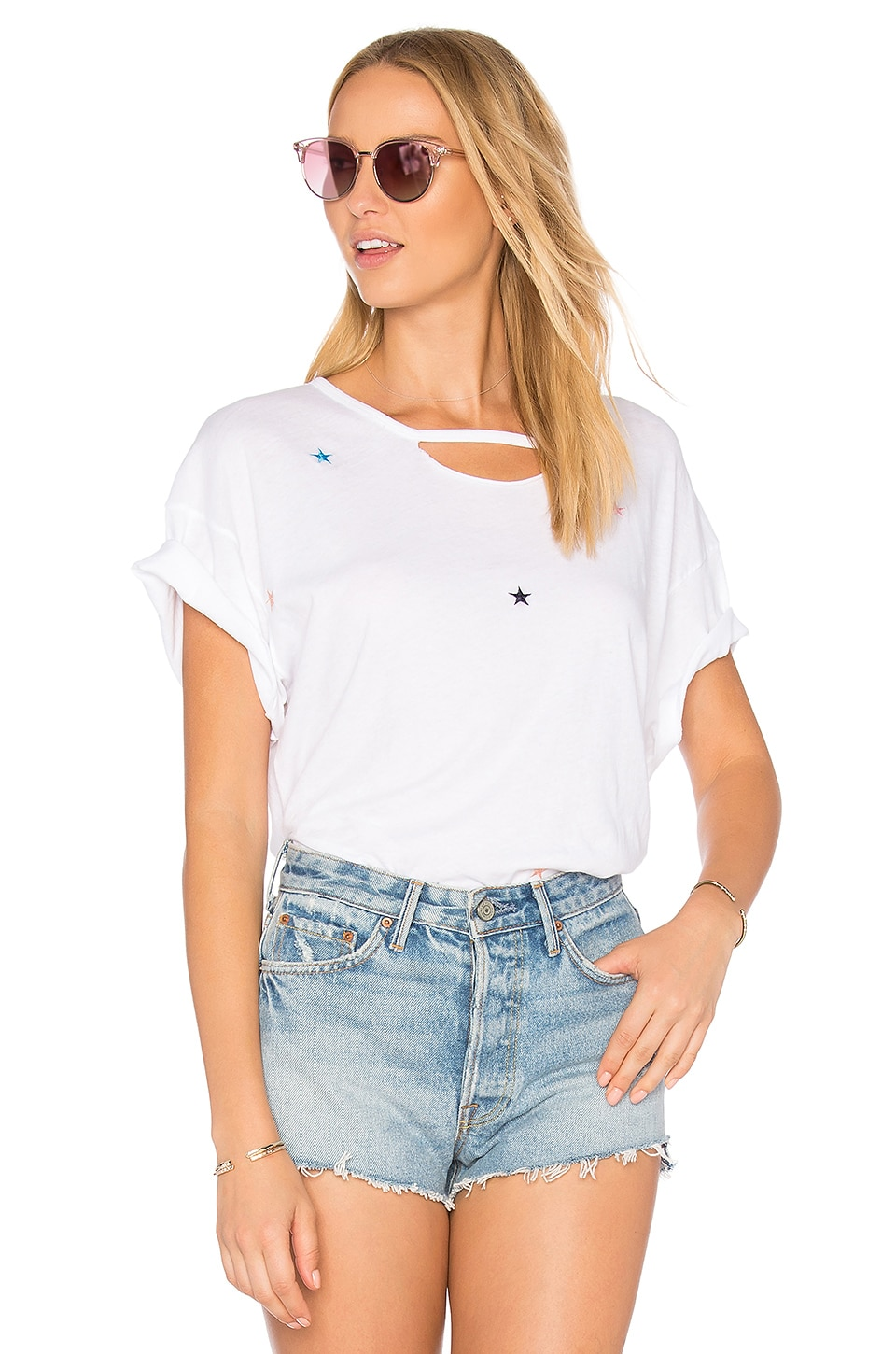 Wildfox Couture Starlet Embroidery Tee in Clean White