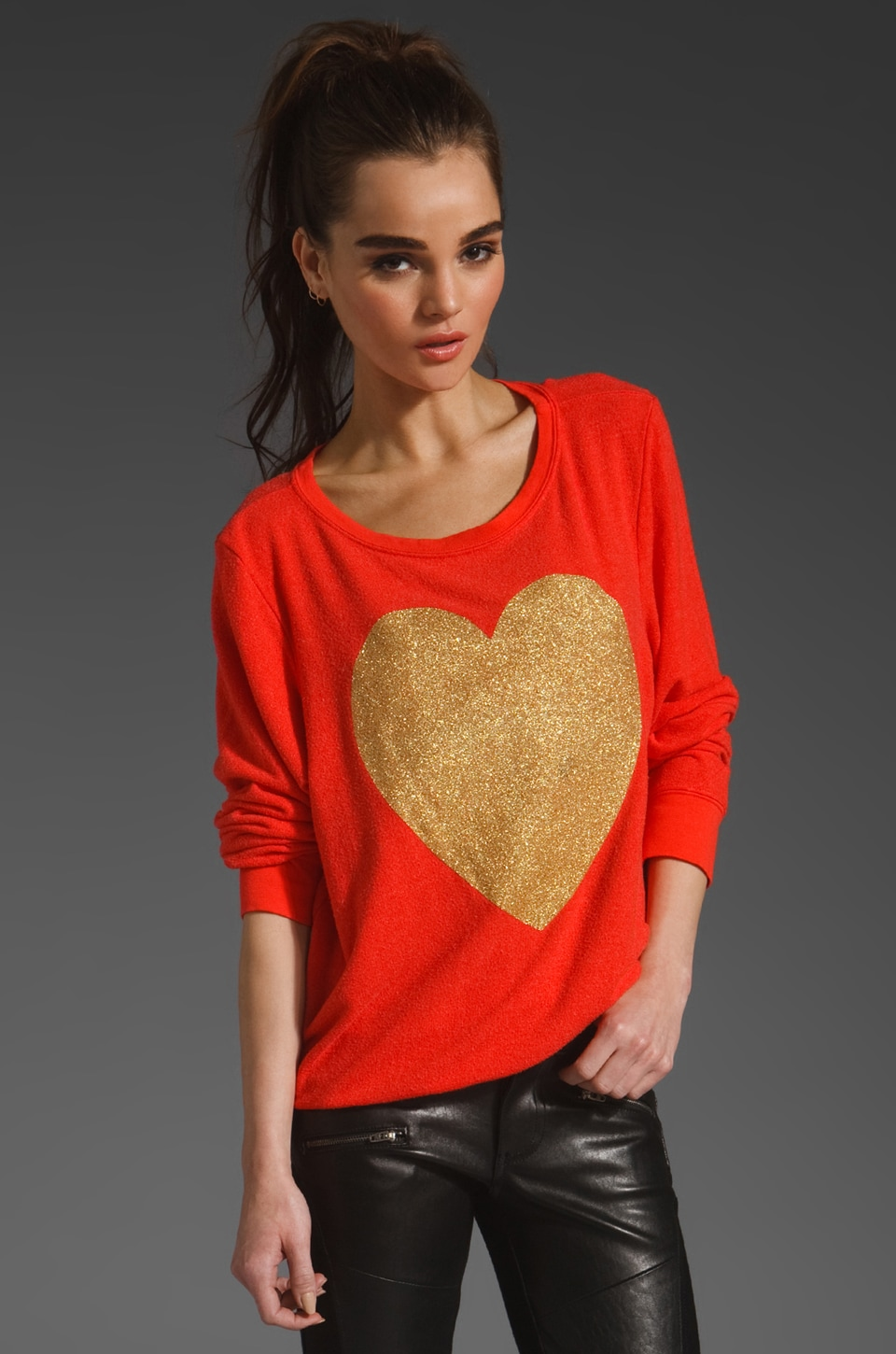 Wildfox Couture EXCLUSIVE Gold Sparkle Heart in Free Love