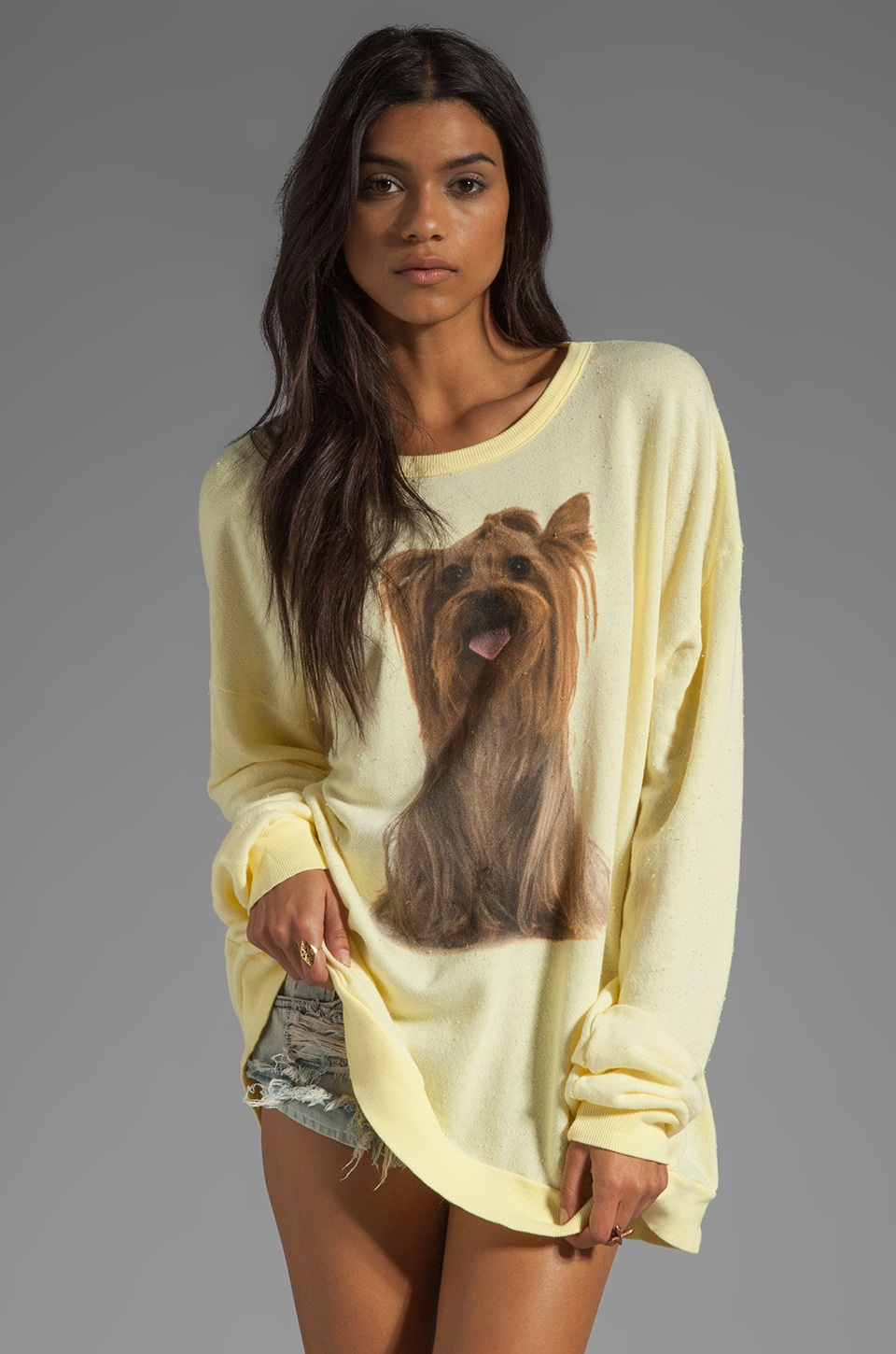 Wildfox Couture Granny's Dog Long Sleeve Tee in Butter