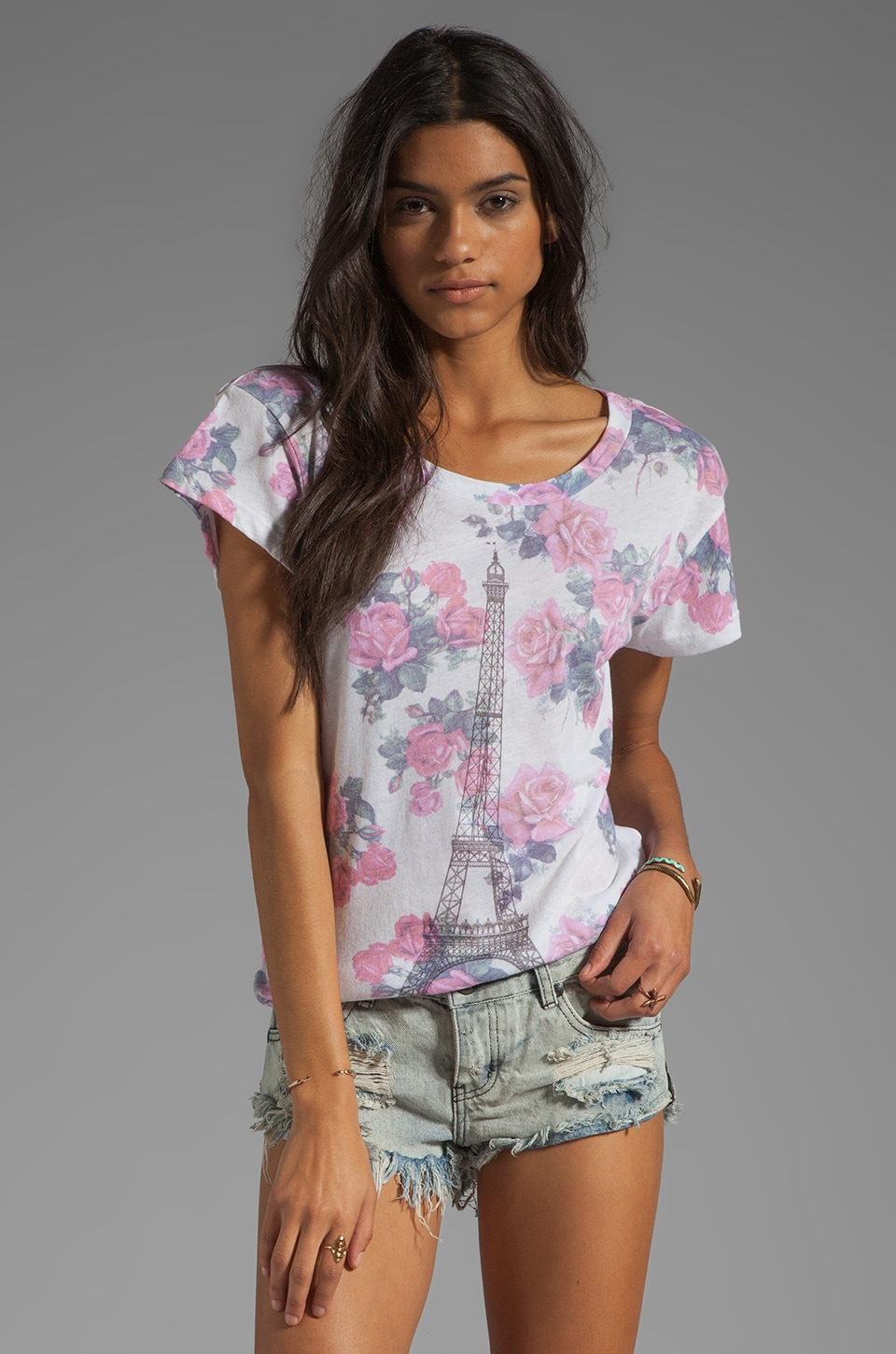 Wildfox Couture Tour Eiffel Floral Tee in Dirty White