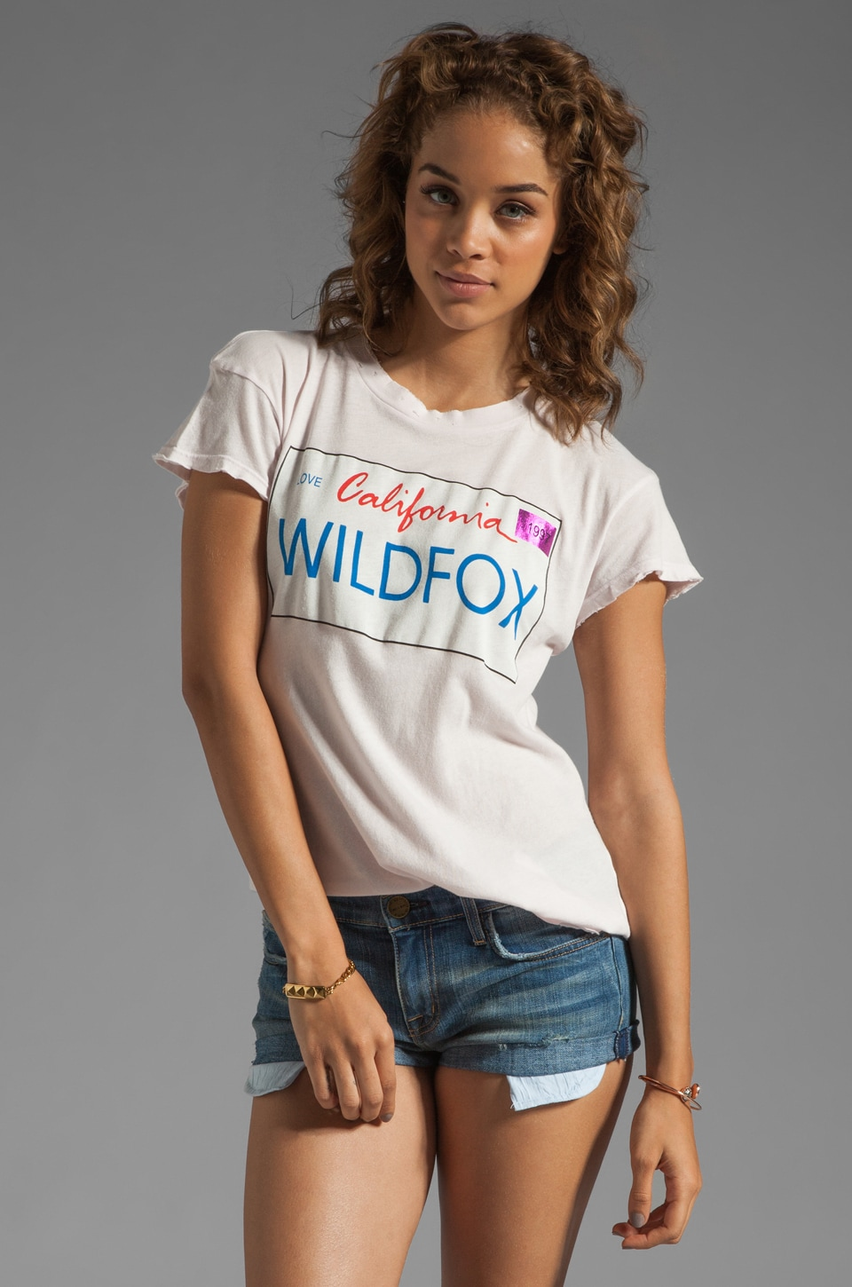 Wildfox Couture Wildfox Plates Tee in Strawberry Ice