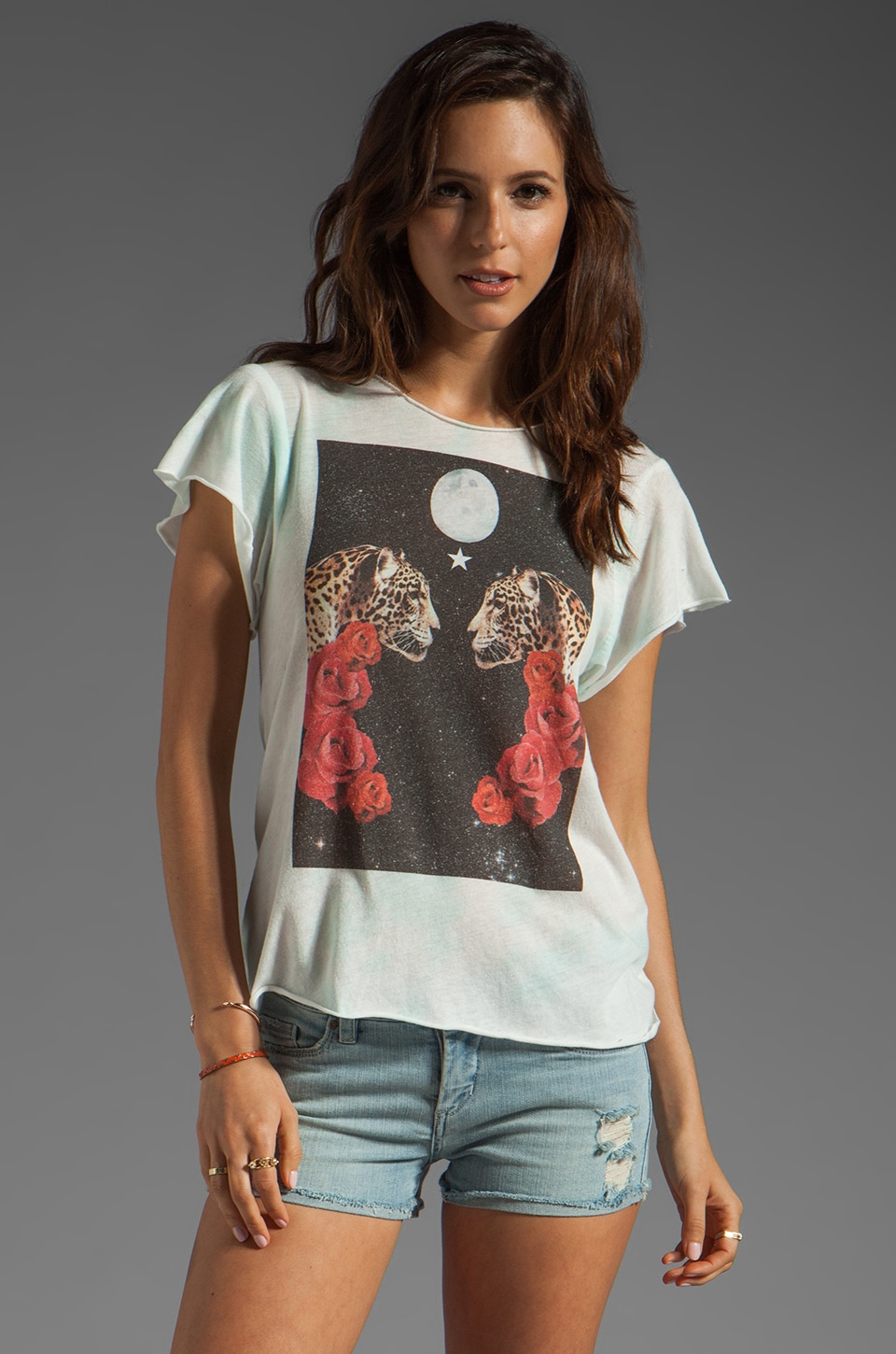 Wildfox Couture Celestial Cats Handmade Tee in Blue Watercolor