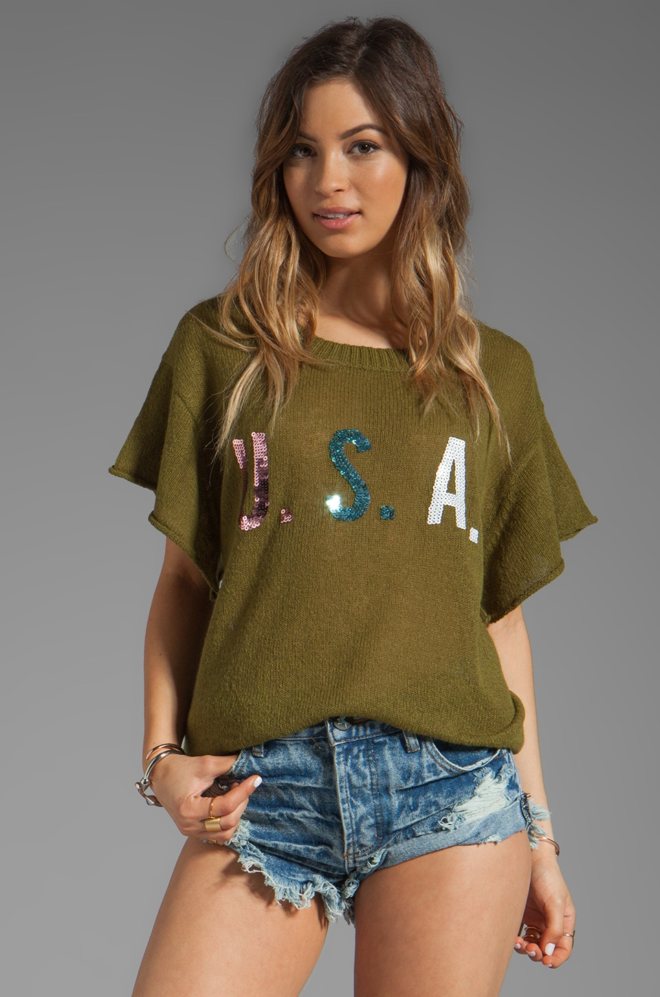 Wildfox Couture Team USA Lake House Tee in Vintage Army