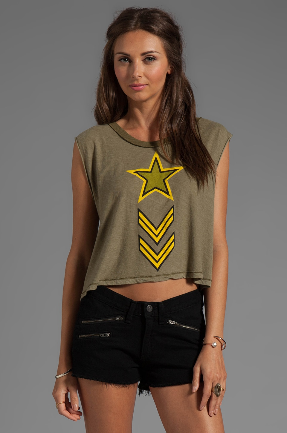 Wildfox Couture Jersey Soldier Boy Cut-Off Graphic Tee in Vintage Army