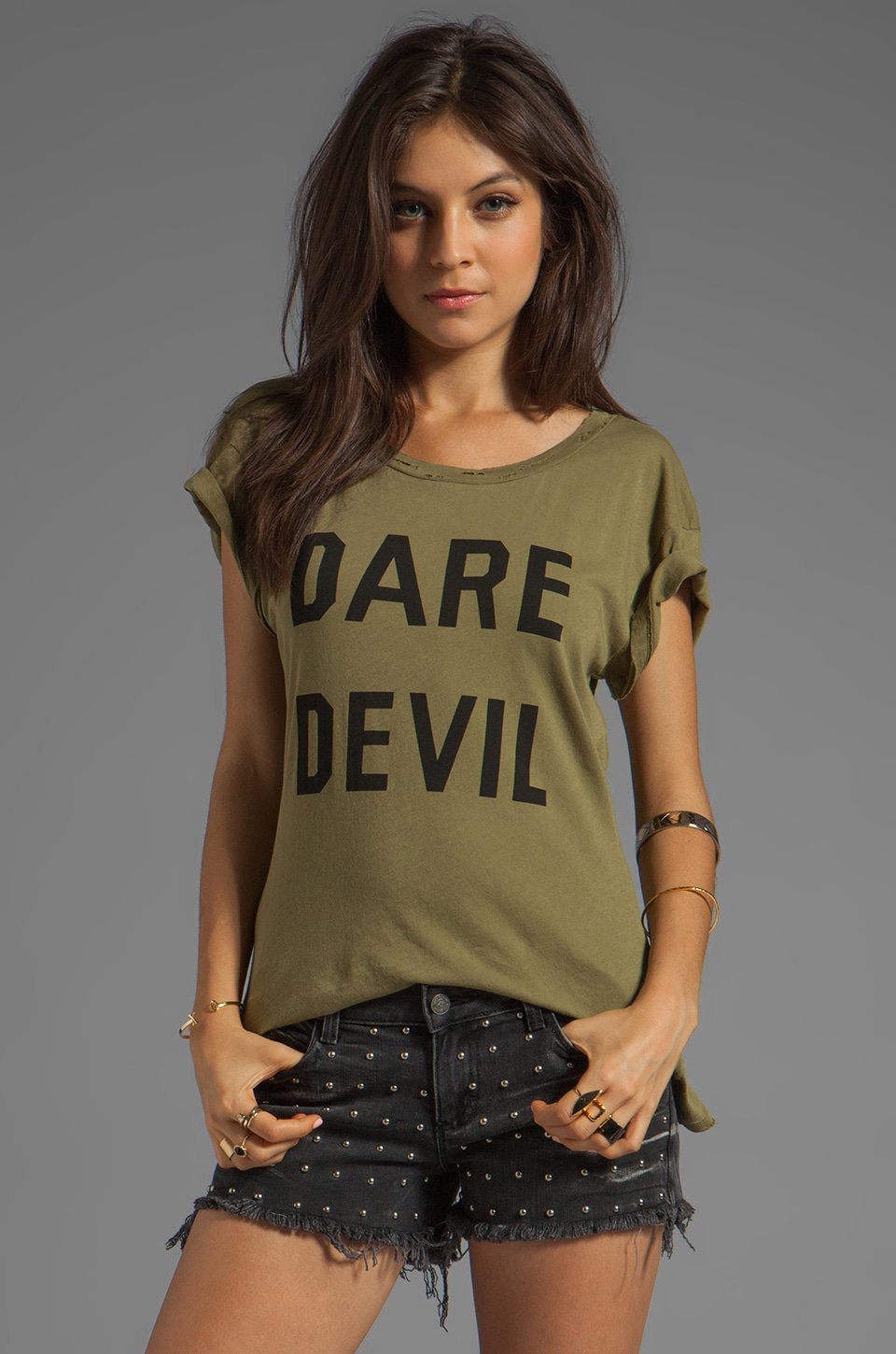 Wildfox Couture Dare Devil Tee in Vintage Army