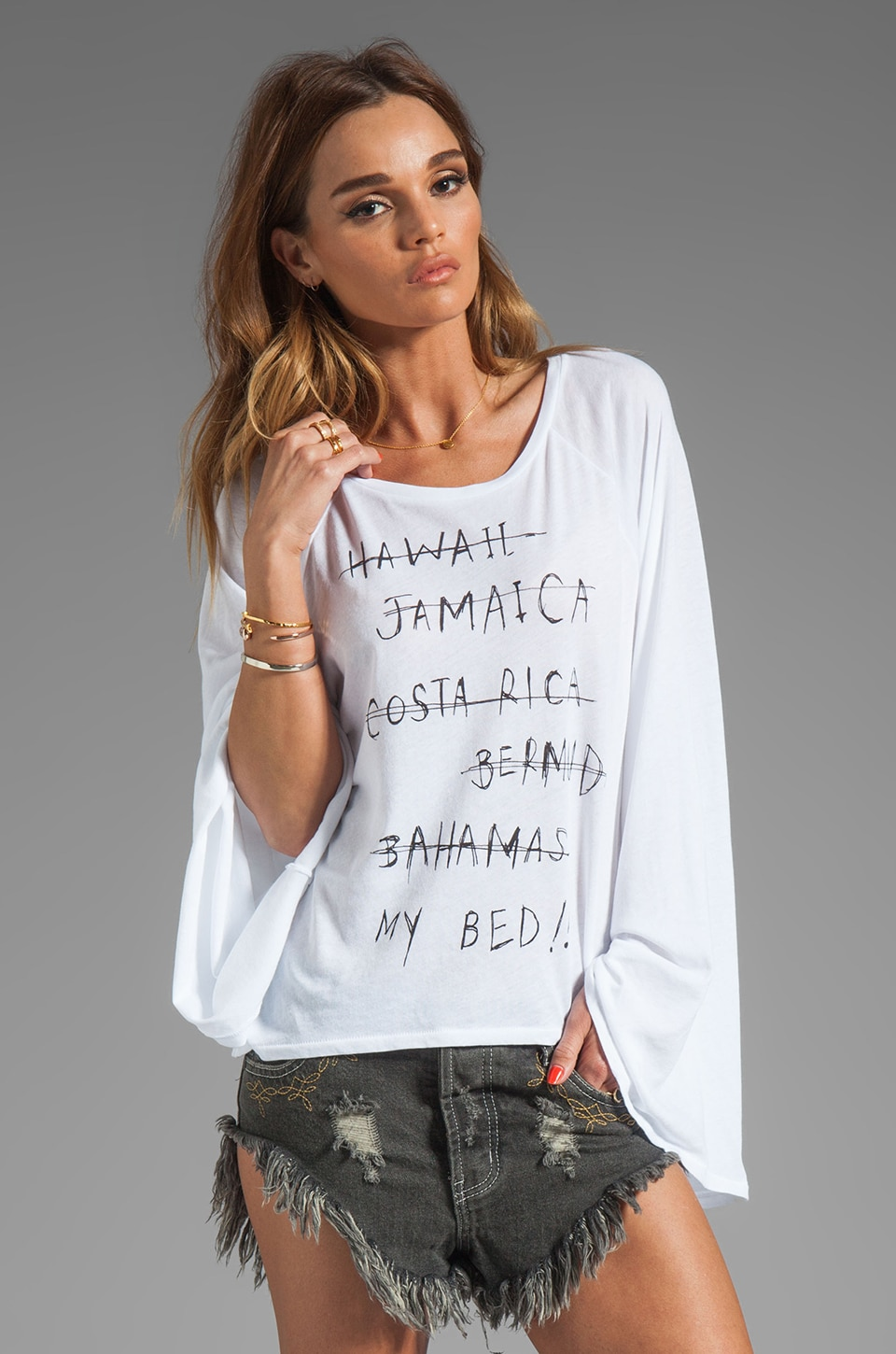 Wildfox Couture The Hotel Room Layering T in Clean White