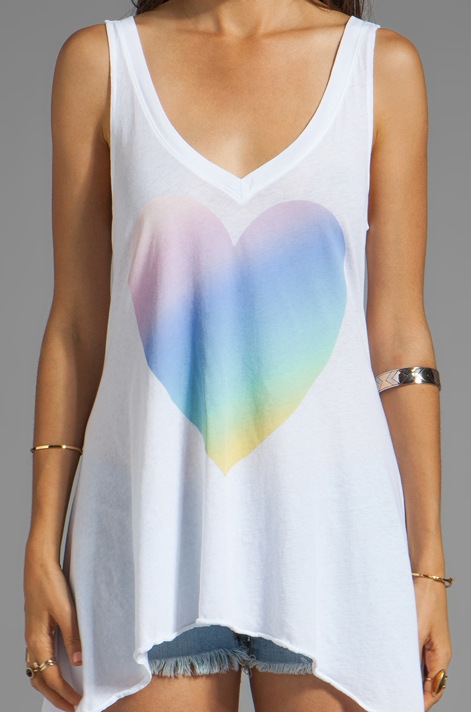 Wildfox Couture Amour Amour Heart Tank in Clean White