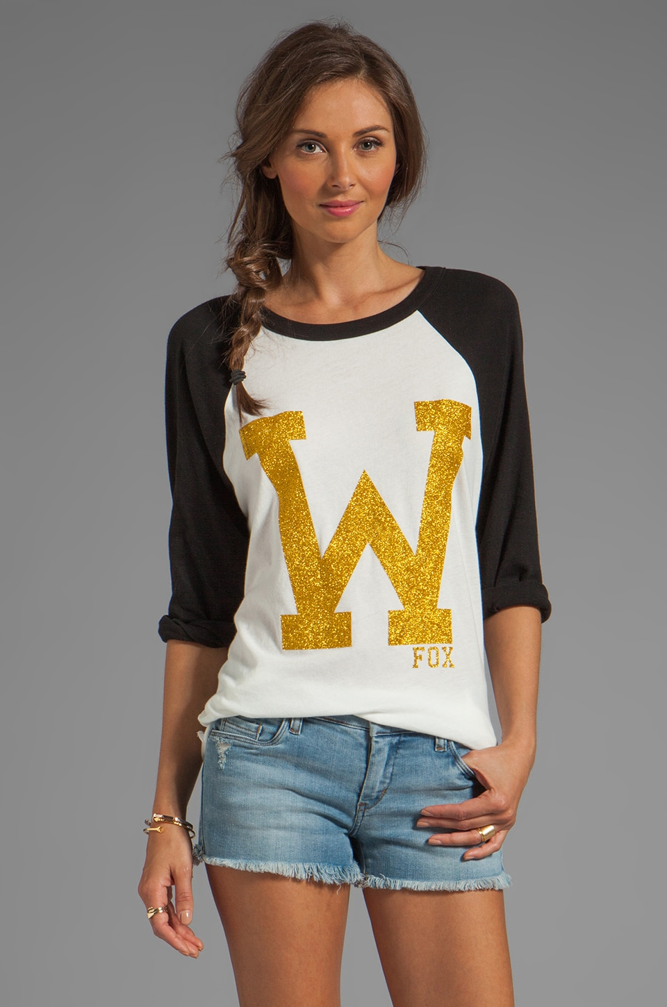 Wildfox Couture EXCLUSIVE 79 Raglan Cotton Jersey in Clean Black