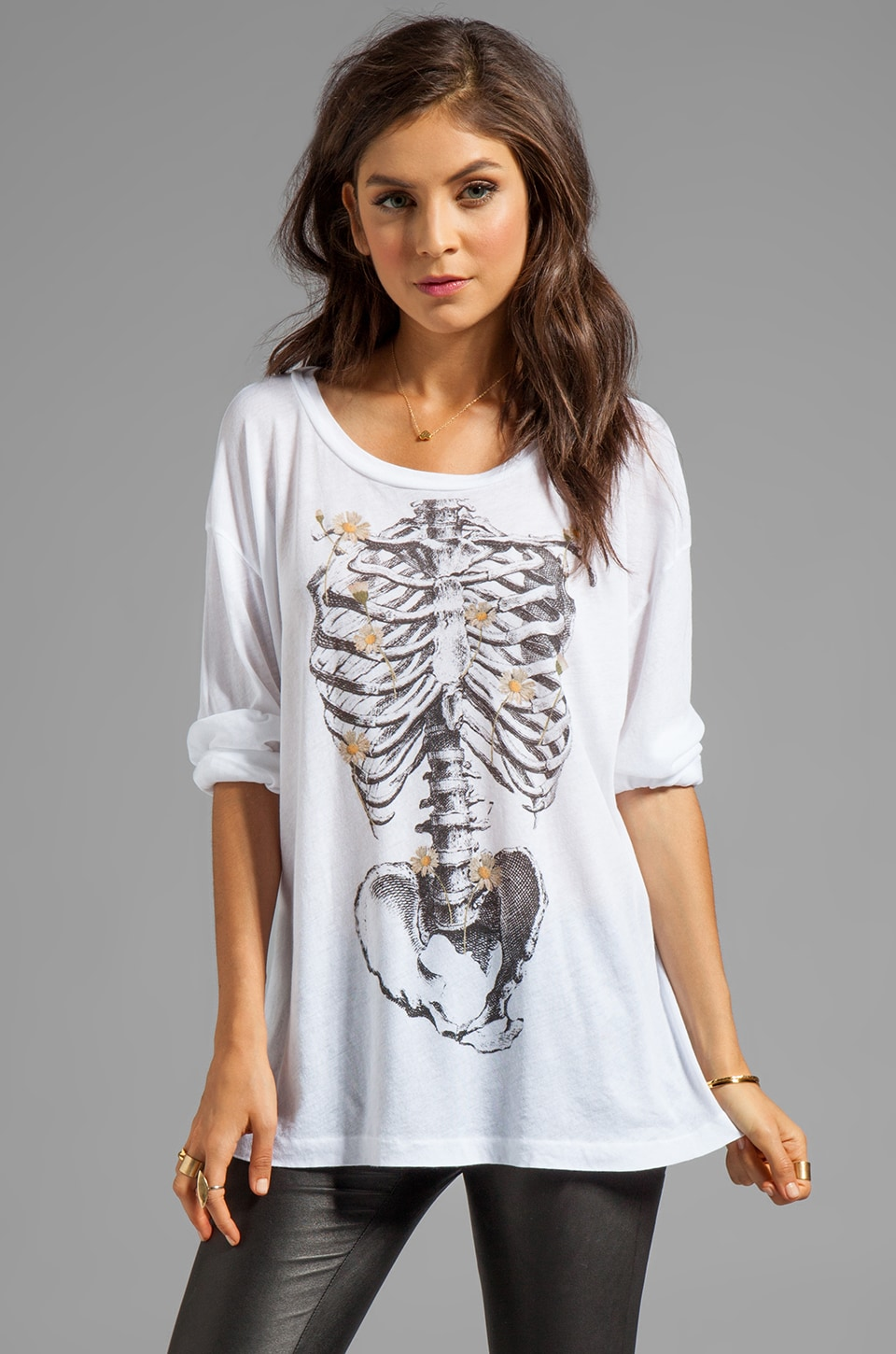 Wildfox Couture Daisy Bones Long Sleeve in Clean White
