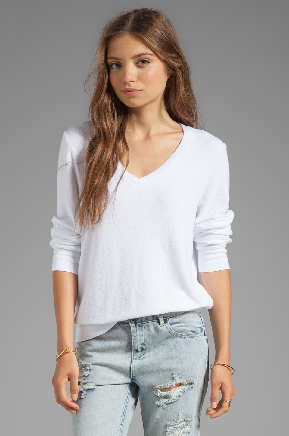 Wildfox Couture Baggy Beach Long Sleeve V-Neck in Clean White