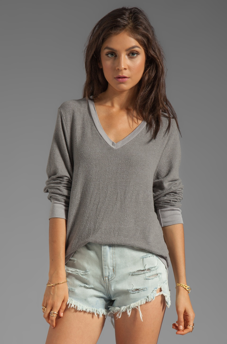 Wildfox Couture Baggy Beach V-Neck in Vintage Grey