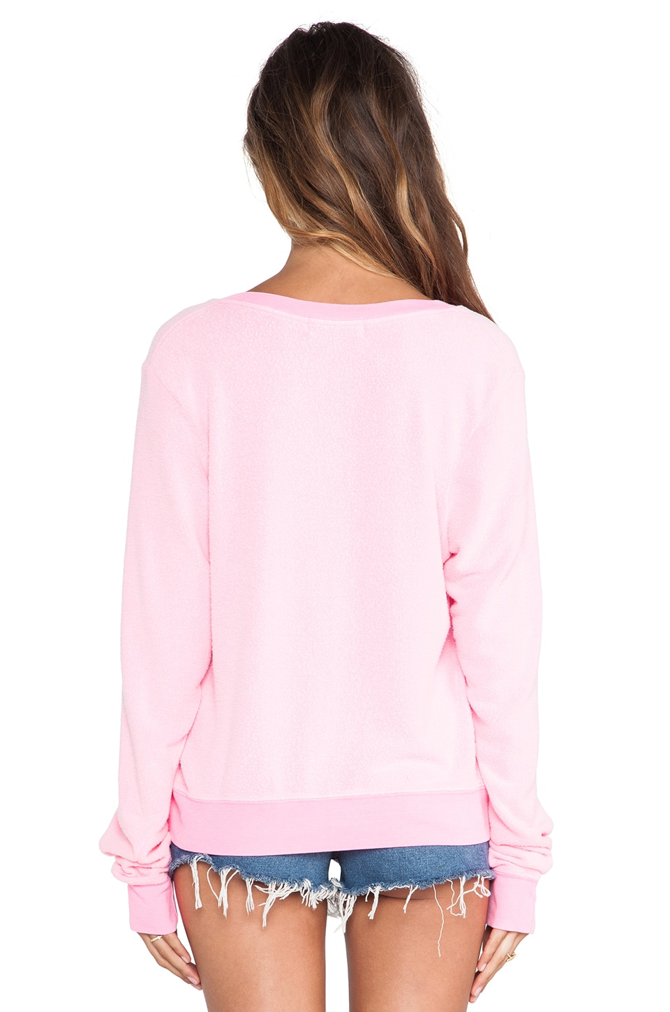 Wildfox Couture Baggy Beach Long Sleeve V-Neck in Party Girl